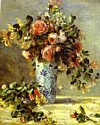 Pierre Auguste Renoir Roses and Jasmin in a Delft Vase painting